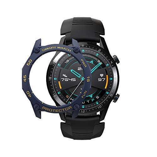 SIKAI CASE Ultradunne beschermhoes compatibel met Huawei Watch GT 2 46mm Smartwatch, zachte TPU flexibele beschermers, anti-kras schokbestendig Slim Bumper Frame Shell, Blue & Gold