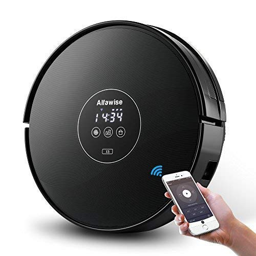 Alfawise x5 Smart Robotic Vacuum Cleaner 2.4g Wifi Alexa with Strong Suction for Fine Sand, Pet Hair, Bare Floors and Carpet, Gyroscope Precise Positioning (Black)