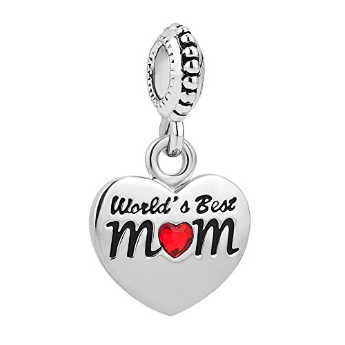 Charmed Craft Heart I Love You Charms World's Best Mom Charms Mother...