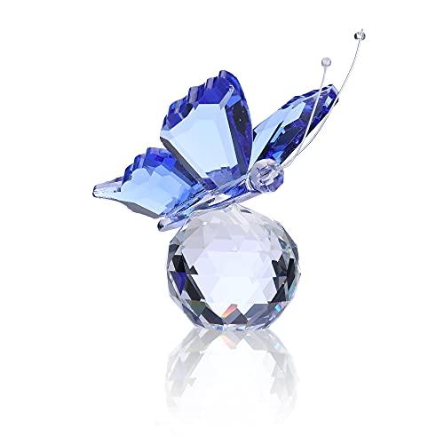 Jovivi Mariposa de cristal con base de bola, adorno de cristal, adorno de colección Suncatcher Atrapasueños, regalo para mujer - azul