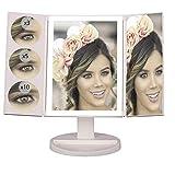 Espejo de Maquillaje con Luz Led y Aumentos x1 x3 x5 x10 Blanco, para Mesa, Sobremesa o Escritorio |...