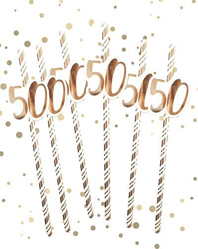 Alandra Birthdays STRAW-50 - Cannucce per 50° compleanno, colore: Crema e oro rosa metallizzato, taglia unica