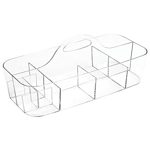 iDesign Clarity Cosmetic Organizer Tote for Vanity Cabinet to Hold Makeup, Beauty Products - Clear