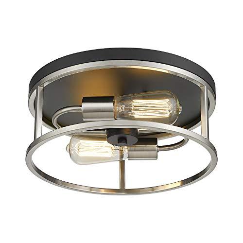 Hopejoy Flush Mount Ceiling Light, 2-Light Close to Ceiling Light for Kitchen, Bedroom, Black and Brushed Nickel Finish, R208/2-BKSN