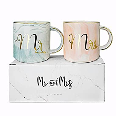 Vilight Mr Mrs Coffee Mugs Set - Gift for Bridal Shower Engagement Wedding and Married Couples Anniversary 2018 - Ceramic Marble Cups 11.5 oz