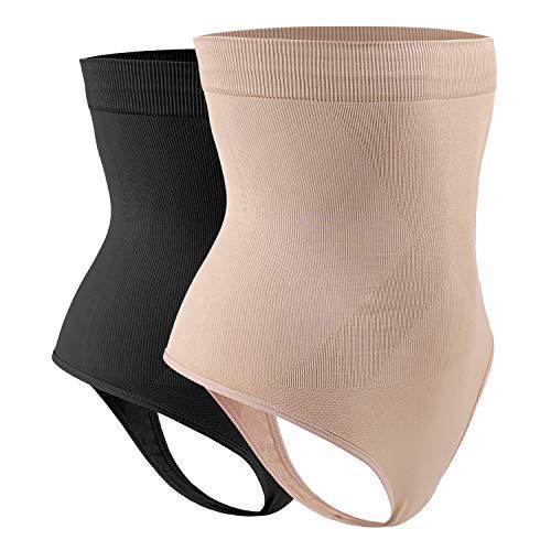 DREAM SLIM Women s High-Waist Seamless Body Shaper Briefs Firm Control Tummy Slimming Thong Shapewear Panties Girdle Underwear (Nude Black 2 Pack, XL XXL)