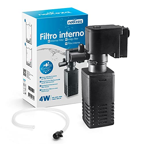 Nobleza Filtro para Acuario 5-100 L, Filtro Acuario Interno con Flujo 400 L H, Filtros Internos para Acuarios, 4W