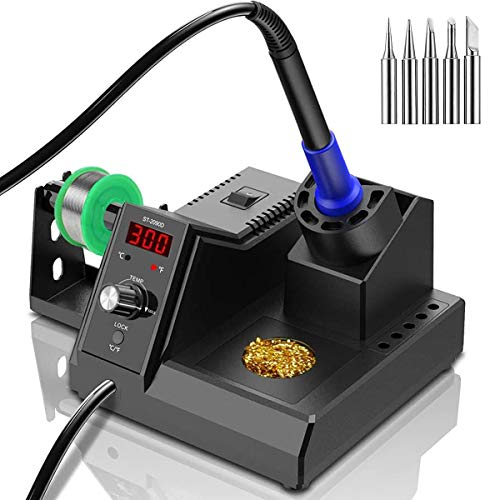 Soldering Station, 110V 80W Digital Soldering Iron Kit with Smart Temperature Control (176°F-896°F), Auto Standby Sleep Solder Station for School Lab, Hobby, Electronics (80W Black)