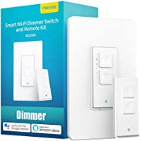 Meross WiFi Wall Light Smart Dimmer Switch and Remote Kit Compatible with Alexa