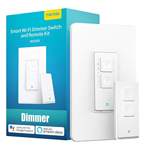 Smart Dimmer Switch and Remote Kit  meross WiFi Wall Light Switches Compatible with Alexa Google Home and SmartThings No Hub Required Single Pole Neutral Wire Required for Dimmable LED Bulb