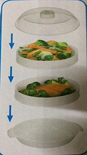 2 Ebenen Mikrowelle Dampfgarer Kochen & Dampf Gemüse Fisch Reis