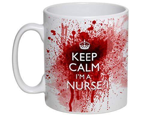 F&T - Taza de cerámica blanca de 325 ml con diseño sangriento de «Keep Calm I'm A Nurse»
