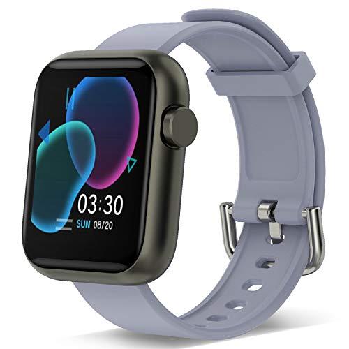 Reloj inteligente para hombres, mujeres, rastreador de ejercicios con pantalla táctil 1.3 Monitor de frecuencia cardíaca Podómetro a prueba de agua deportes Mujeres Hombres Teléfono iOS Andriod (Gris)