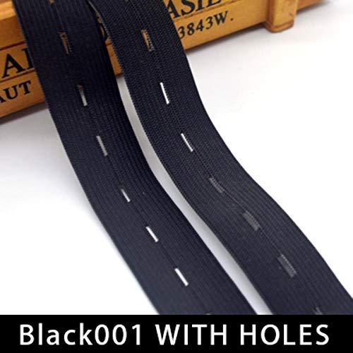 1 Pack Zwart Wit 8 Garen hoge Kwaliteit Elastische Band Webbing Lint voor Kleding Tape Broek Naaien Accessoires DIY,Zwart met Gaten,5mm