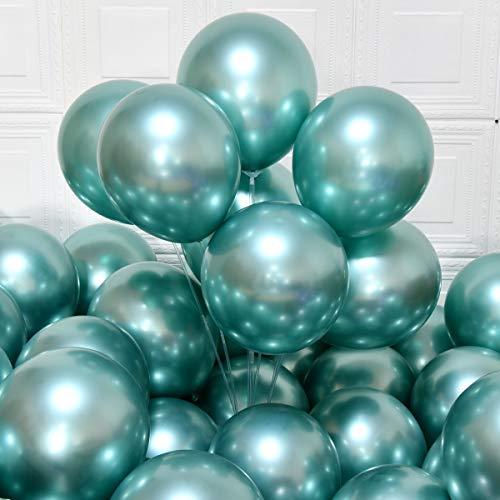 MOXMAY Party Luftballons 12 Zoll 50 Stück Latex Metallic Luftballons Chrom Geburtstag Luftballons Glänzende Luftballons Party Dekoration Hochzeit Geburtstag Baby Shower Weihnachtsfeier(Metallic Grün)