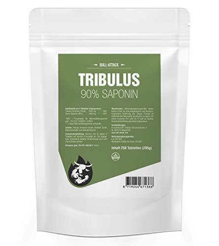 STRONG TRIBULUS 90%   250 comprimés de 500mg chacun   Végétalien   Haute dose   Teneur en saponine 90%   Extrait pur de Tribulus Terrestris, Saponine, Booster de testostérone - Qualité supérieure