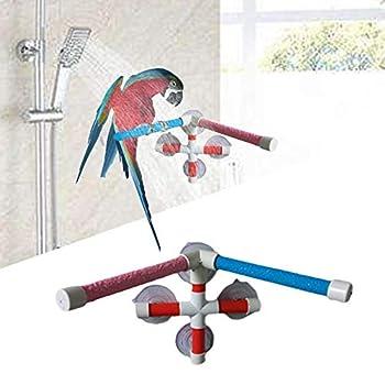 Hypeety Perchoir portable à ventouse pour fenêtre et douche pour oiseau, perroquet, ara, cacatoès, gris du Gabon, perruche, bain à double support