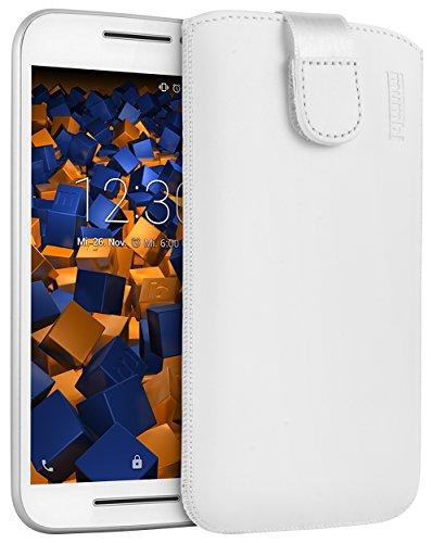 mumbi Echt Ledertasche kompatibel mit Motorola Moto G3 Hülle Leder Tasche Case Wallet, weiss
