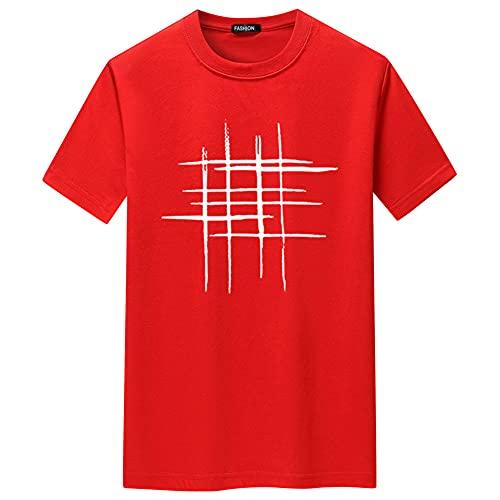 Streetwear Hombres Manga Corta Transpirable Cuello Redondo Hombres T-Shirt Verano Personalidad Básica Tendencia Estampada Hombres Shirt Deporte Cómoda Hombres Shirt Ocio J-009 4XL