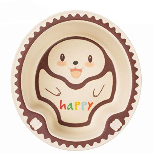 Baby Kids Natural Bamboo Fiber Bowls Cute Cartoon Animal Dishes Baby Feeding Children Tableware Infant Toddler Portable Plates-Hedgehog