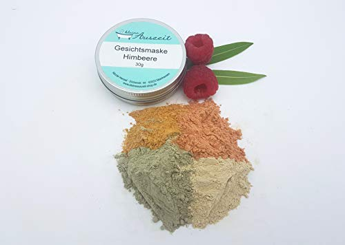 Gesichtsmaske Himbeere - bei trockener bis empfindlicher Haut, vegan, ohne Palmöl und Konservierungsstoffe, Gesichtsmaske aus natürlichen Heilerden von kleine Auszeit Manufaktur
