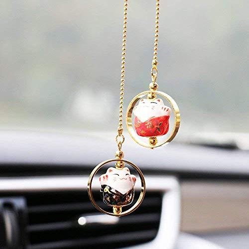 EatingBiting(R) 3 Styles Maneki Neko Lucky Fortune Cat Fengshui Pendant Ceramics Hanging Pendant Ring Home Car Decoration, 招き猫 Prosperity Avoid Evil Health Wealth Rich (Black red)