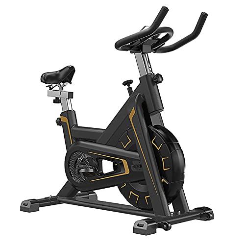 Bicicleta Estáticas Para Fitness - Rueda De Inercia Bidireccional, Transmisión Por Cadena Fij, Asiento Ajustable, Bici De Spinning, Bicicleta Indoor Con Volante De Inercia (Black Gold)