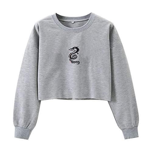 HOTHONG Femmes Pullover Sweat Shirt Imprimé Tee Shirt Streetwear Couleur Unie Pull Court Hauts à Manches Longues Manteau Pas Cher Chemisier
