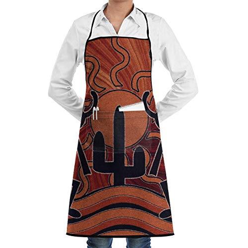 Southwestern Cactus Sunset Kokopelli Southwest Native Chef Tablier avec poches pour les femmes et les hommes Cuisine Cuisine Cuisson BBQ