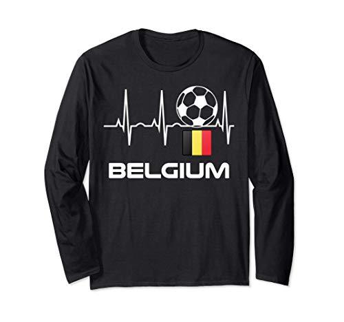 Belgien Fußball-Trikot - Belgischer Fußballherzschlag Langarmshirt