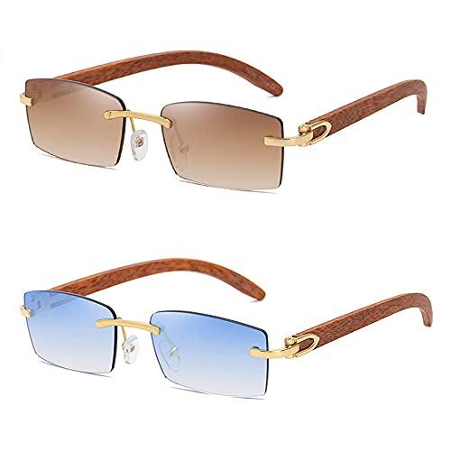 SHEEN KELLY 2PCS Gafas de sol rectangulares retro para hombres y mujeres Gafas de sol con montura ultrapequeña Gafas de sol sin montura Gafas de sol con montura de madera y plástico