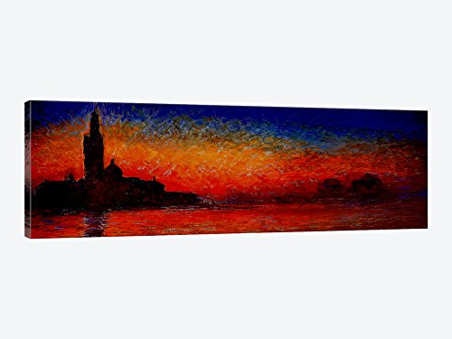 iCanvasART 302PAN Sunset in Venice by Claude Monet Canvas Print, 60 by 20-Inch, 0.75-Inch