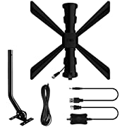 Outdoor/Indoor Amplified Digital HD TV Antenna up to 150 Miles Range - Supports 4k 1080p Fire tv Stick / 45 Degree Adjustable with J Pole - Powerful Signal Booster,33ft Coax Cable-[2020 Upgraded]
