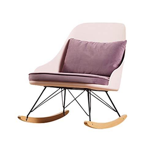 WPOV-A Einzelne Sofa Schaukelstuhl, abnehmbare Waschkissen aus Samt-Massivholz Terrace Nap Lounge Chair 1203-YY (Color : Pink, Size : Wood Legs)