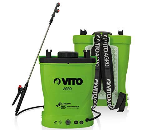VITO Garden 16 Liter Lithium Akku Drucksprüher Akku Rückenspritze Drucksprühgerät - rückentragbarer Drucksprüher (16L Lithium-Akku) Akku Drucksprühgerät für Pflanzen, Garten, Dach