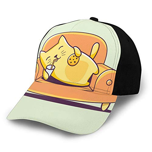 Printed Baseball Cap,Kitten Character Laying Down On A Couch Sipping Milk,Hat for Men Women Teens