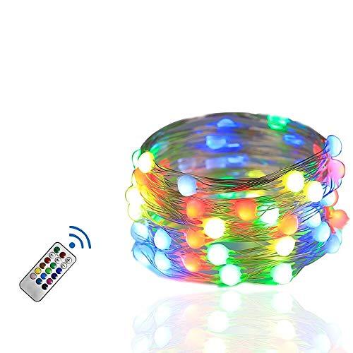 Pedkit - Cadena de luces 100 LED con mando a distancia, control de punto, iluminación para fiestas, 12 modos y función de merk, cadena de luces de 10 m para Navidad y Halloween (10 m)