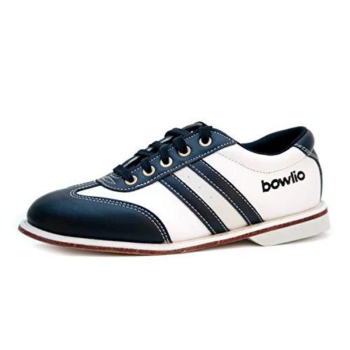 Bowlio Torino Bowlingschuhe aus Leder in Schwarz Weiss mit Ledersohle, Größe:42, Farbe:Schwarz/Weiss