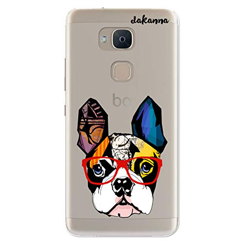 dakanna Funda para [ Bq Aquaris V - VS ] de Silicona Flexible, Dibujo Diseño [ Bulldog Frances con Gafas Estilo Comic ], Color [Fondo Transparente] Carcasa Case Cover de Gel TPU para Smartphone