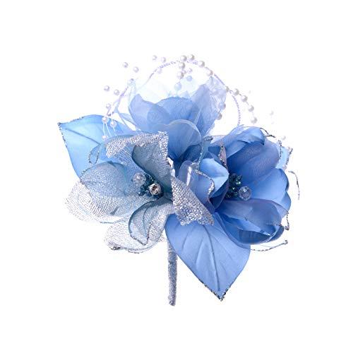 日本製コサージュ サテンパール芙蓉291 入学式 入園式 卒業式 卒園式 (ブルー)