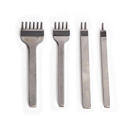 DIY Edelstahl flach Meißel 4mm 1/2/4/6 Zinken Leder Craft Loch Stempel Pitch Hole Nähten Schnürung Lochen Sew Tools (4-Piece Set)