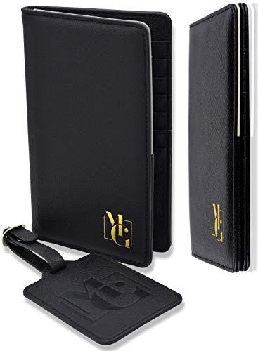 Passport Holder for Men - and Women - Passport Wallet RFID Blocking and Luggage Tag Set for Travel - Elegant Gift Box - Elegant Black