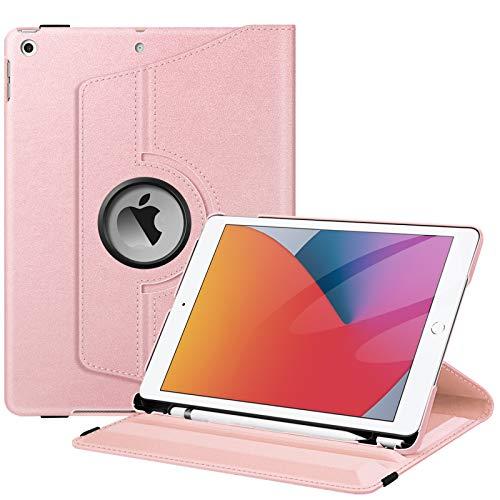 Fintie Hülle für iPad 10.2 Zoll (8. & 7 Generation, Modell 2020/2019), 360 Grad Rotierend Stand Schutzhülle Cover mit eingebautem Pencil Halter, Auto Schlaf/Wach Funktion, Roségold
