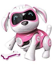 RCTecnic Robot Dog for Children Rock Interactive Toy Puppy met emoties en beweging, blaft en speelt met zijn bot, oplaadbare batterij en zeer sterke en leuke USB-kabel (roze)