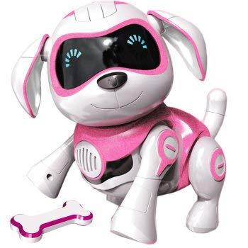 RCTecnic Perro Robot para Niños Rock Perrito de Juguete Interactivo con Emociones y Movimiento, Ladra y Juega con su Hueso, Batería Recargable y Cable USB Muy Resistente y Divertido (Rosa)