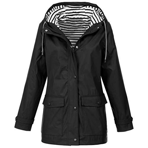 Buby Women Casual Daily Coats Solid Rain Jacket Outdoor Plus Size Waterproof Hooded Raincoat Windproof Windbreaker Ladies Long Sleeve Softshell Lightweight Parka Coat Tops Hoodies Drawstring Cardigan