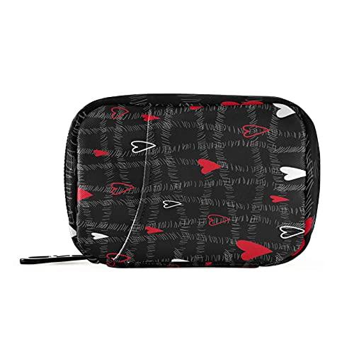 Hunihuni Valentine Love Heart Medicine Organizers - Bolsa de pastillas, portátil, bolsa de almacenamiento con cremallera para viajes