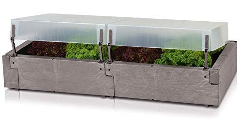 Florabest Hochbeet mit Thermohauben Füllvolumen ca. 120 l Ohne Pflanzen Windsicher verriegelbar, ebenso in Lüftungsstellung Maße (bei geschlossener Haube): ca. B 130 x H 32 x T 60 cm