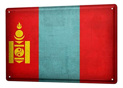 LEotiE SINCE 2004 Blechschild Dekoschild Küche Garage Welt Reise Mongolei Flagge Wand Deko Schild 20X30 cm