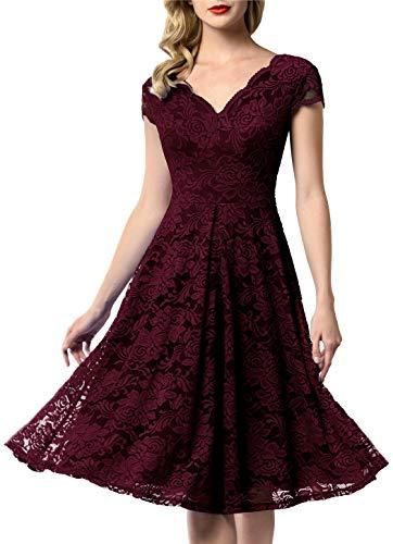 AONOUR 0052 Women's Vintage Floral Lace Bridesmaid Dress Wedding Party Midi Dress Cap Burgundy 3XL